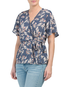 Juniors Short Sleeve Surplice Top