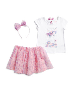 Little Girls 2pc Frenchie Pup Skirt Set