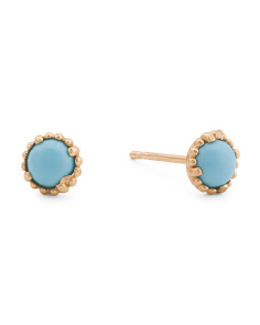 Made In Italy 14k Gold Turquoise Stud Earrings