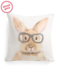 20x20 Bunny With Sequin Glasses Pillow
