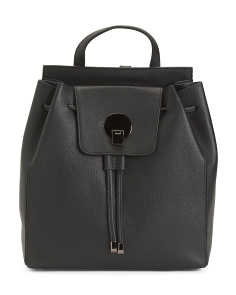 Made In Italy Leather Drawstring Backpack