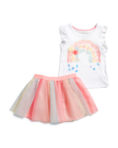 Little Girls 2pc Floral Rainbow Mesh Skirt Set