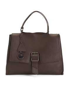 Made In Italy Leather Satchel With  Front Buckle