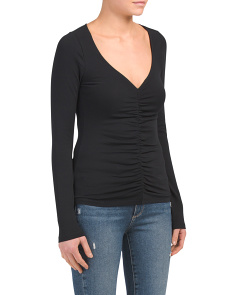 V Neck Rouched Front Top
