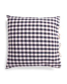 22x22 Gingham Natural Tie Pillow