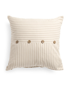 22x22 Ticking Striped Button Pillow
