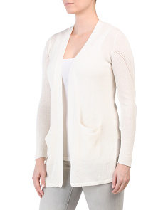 Linen Blend Cardigan With Pointelle Detail