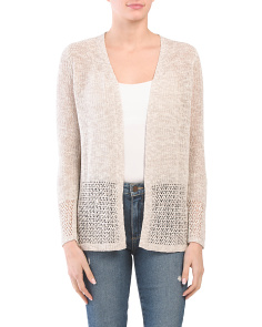 Corded Cardigan With Pointelle Detail