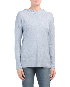 Hooded Linen Blend Pullover Top