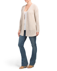 Linen Blend Vertical Rib Corded Cardigan