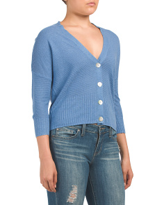 Linen Blend Shrug With Button Closure