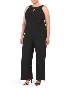 Plus Keyhole Sleeveless Jumpsuit