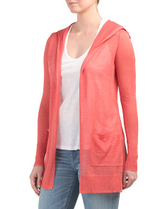 Linen Blend Cardigan With Hood
