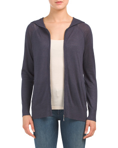 Linen Blend Long Sleeve Zip Front Cardigan