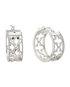 Made In Italy Sterling Silver Filigree Hoop Earrings