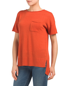 Linen Blend Short Sleeve Sweater With Pocket