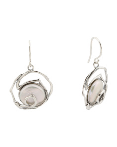 Made In Israel Sterling Silver Coin Pearl Swirl Earrings