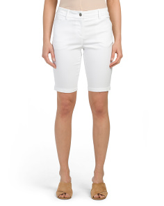 Petite Zip Front Bermuda Stretch Shorts