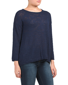 Linen Blend Hi Lo Pullover Sweater
