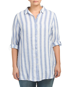 Plus Linen Striped Shirt