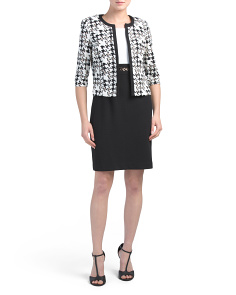 Petite Houndstooth Jacket Dress Suit