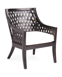 Plantation Wood Ratan Lounge Chair