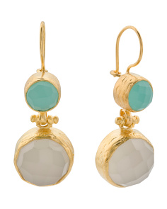 Made In Turkey Aqua And White Chalcedony Earrings