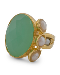 Made In Turkey Aqua Chalcedony And Pearl Ring