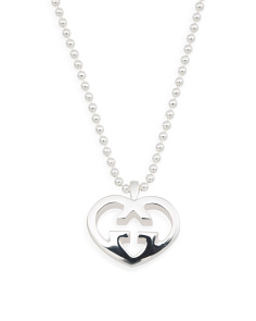 Made In Italy Sterling Silver Love Britt G Heart Necklace