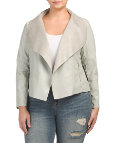 Plus Faux Leather Drape Jacket