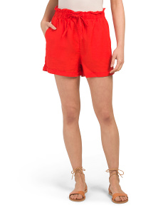 Solid Linen Ruffle Shorts