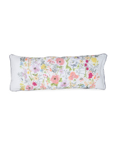 Made In India 18x48 Embroidered Floral Pillow
