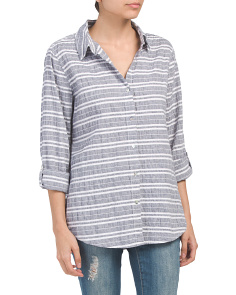 Linen Blend Collared Button Down Top