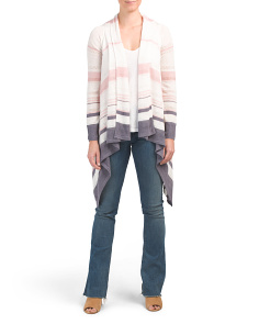 Stripe Draped Linen Blend Cardigan