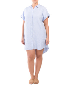 Plus Button Linen Dress