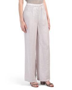 Linen Pull On Smocked Waist Pants