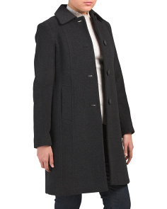 Petite Slub Club Collar Wool Blend Coat