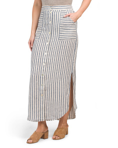 Stripe Button Down Linen Maxi Skirt