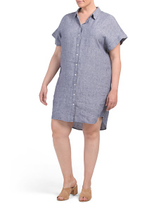 Plus Linen Button Up Dress