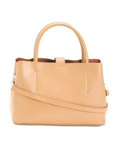 Leather Triple Compartment Satchel
