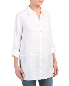 Long Sleeve Button Front Linen Top