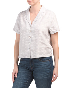 Linen Printed Short Sleeve Dot Print Shirt