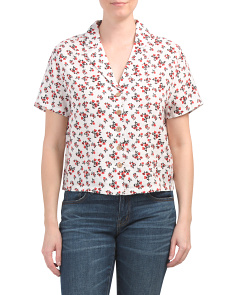 Linen Button Up Floral Print Top