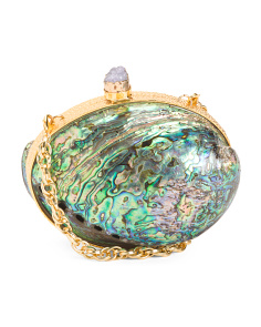 Handmade Boxed Abalone Shell Clutch With Shoulder Strap