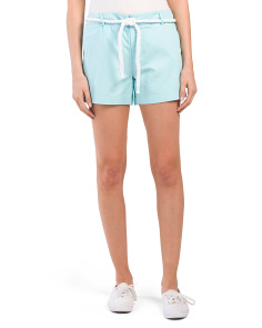Flat Front Belted Shorts