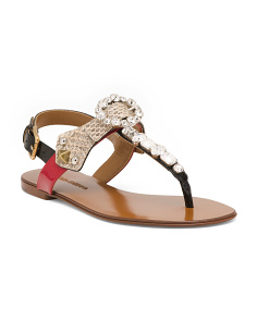 Made In Italy Embellished Leather Sandals