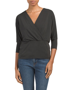 Made In Usa Dolman Surplice Crepe Top