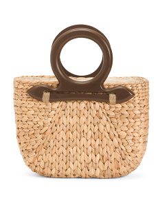 Straw Natural Handbag With Wood Handles