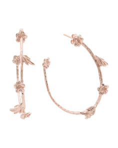 Made In Italy Plated Sterling Silver Floral Hoop Earrings
