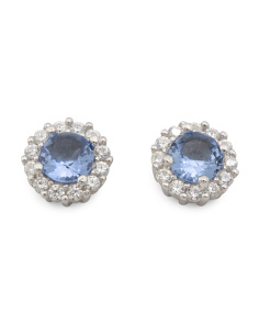 Sterling Silver 5mm Blue Cz Halo Stud Earrings